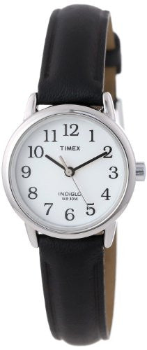 Women's Easy Reader Silver Tone Case Black Leather Band Watch