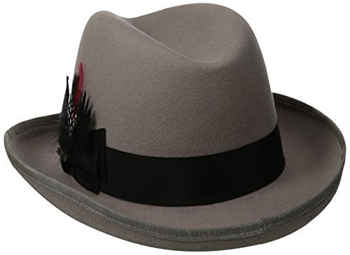 Scala Classico Men's Wool Felt Homburg Hat (Light Grey / X-Large)