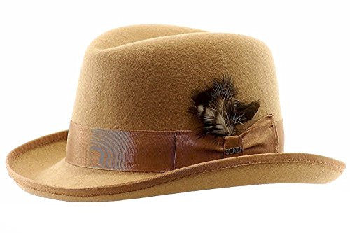 Scala Classico Men's Wool Felt Homburg Hat (Camel / X-Large)
