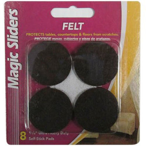 "1 1/2"" Round Ultra Heavy Duty Self-Stick Pads, Brown - 8 pack"