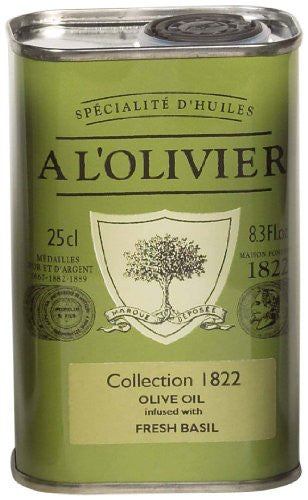 A L'Olivier Extra Virgin Olive Oil Infused With Basil 8.3 oz