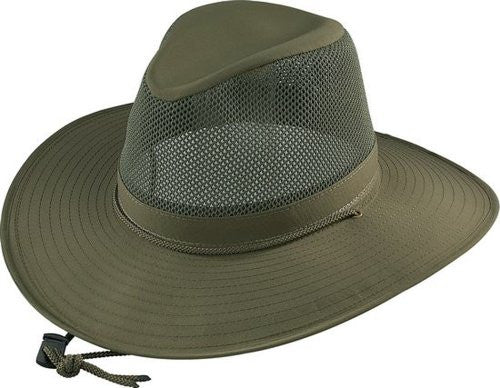 Aussie Crushable - SPF 50+ Fabric w/ Mesh,3 in Brim & Cool Max Sweat, Olive, XX-Large