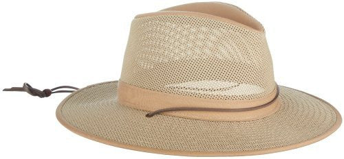 Aussie Breezer - Packable Polycotton w/ Chin Cord, 3 in Brim, Crushable, Natural, Small