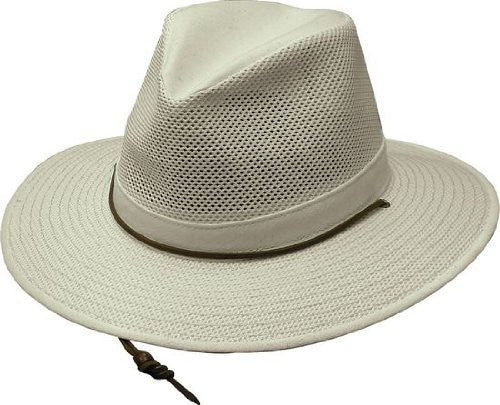 Aussie Breezer - Packable Polycotton w/ Chin Cord, 3 in Brim, Crushable, Natural, Large