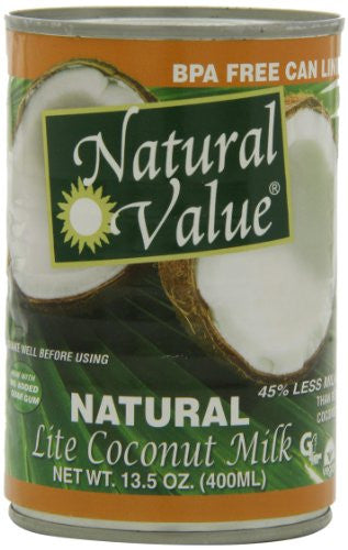 Natural Value Lite Coconut Milk, 13.5 Ounce Cans (Pack of 12)