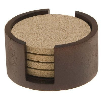 Wood Coaster Holder - Walnut - Circular