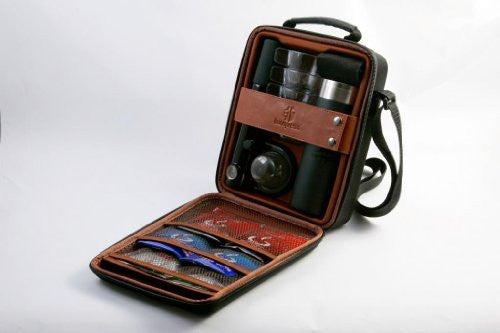 Case w/ Handpresso Wild Hybrid, Flask, 2 napkins, and 4 unbreakable outdoor cups - 10.5 x 8.3 x 3 in