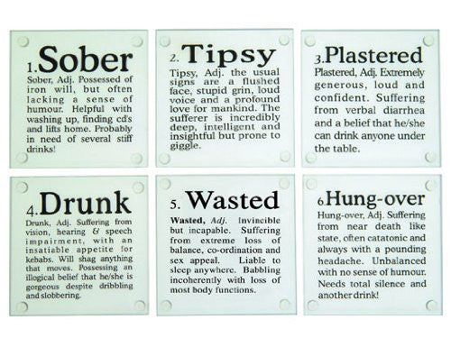 GLASS COASTERS DRUNK? SET OF 6
