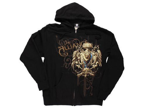 World of Warcraft Alliance Crest Version 2 Zip-up Hoodie- Black, Small