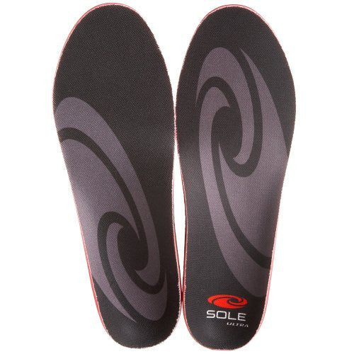 Sole Unisex Softec Ultra Insole,Black/Grey,Men's 11.5-12 M/Women's 13.5-14 M