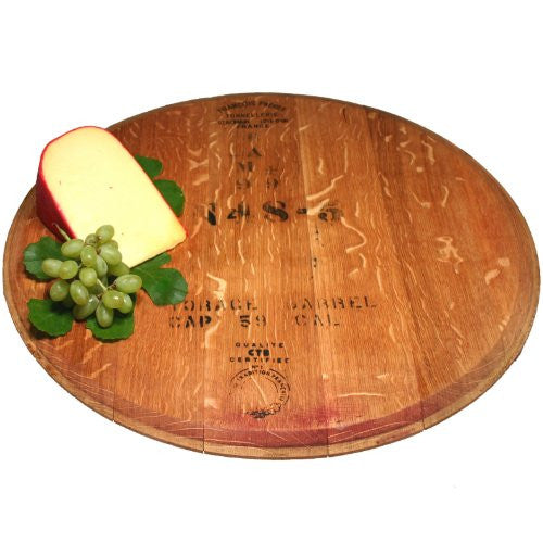 "Hand Finished Reclaimed Wine Cask Lazy Susan 21-23""D"