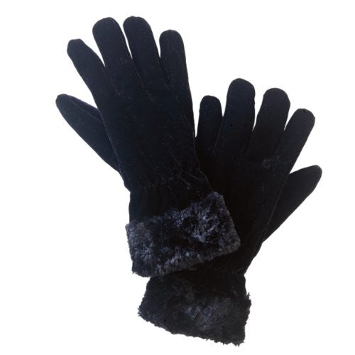 Women's Gants de Lapin, Faux Fur Trimmed Velvet Gloves, Black
