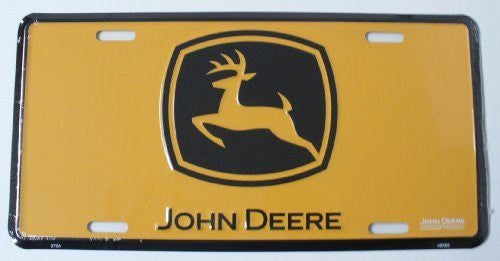 License Plate: John Deere Logo Farm Tractor Yellow Sign (6x12)
