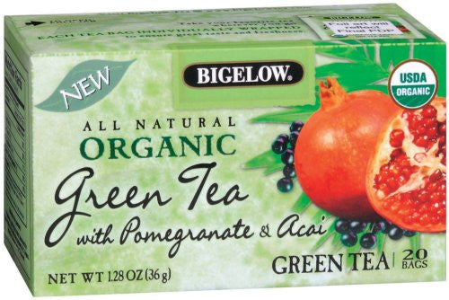 Bigelow Organic Green Tea with Pomegranate & Acai, 1.28-Ounce Boxes (Pack of 6)