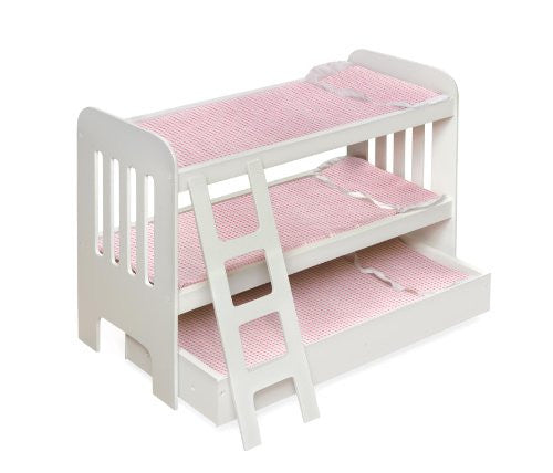 TRUNDLE DOLL BUNK BED w/ LADDER