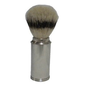 Pure Bristle Travel Shave Brush, NICKEL PLATED BRASS