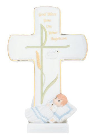 """God Bless You On Your Baptism"" Cross with Stand Material: Porcelain, 7.75"""