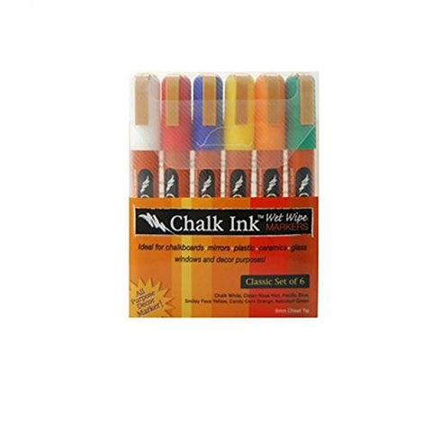 Wet Wipe Marker 6.0mm Classic 6 Pack - Chalk White, Clown Nose Red, Astroturf Green, Smiley Face Yellow, Pacific Blue, Candy Corn Orange