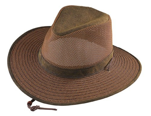 Aussie Breezer - Packable Polycotton w/ Chin Cord, 3 in Brim, Crushable, Distress Gold, Large