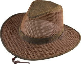 Aussie Breezer - Packable Polycotton w/ Chin Cord, 3 in Brim, Crushable, Distress Gold, X-Large