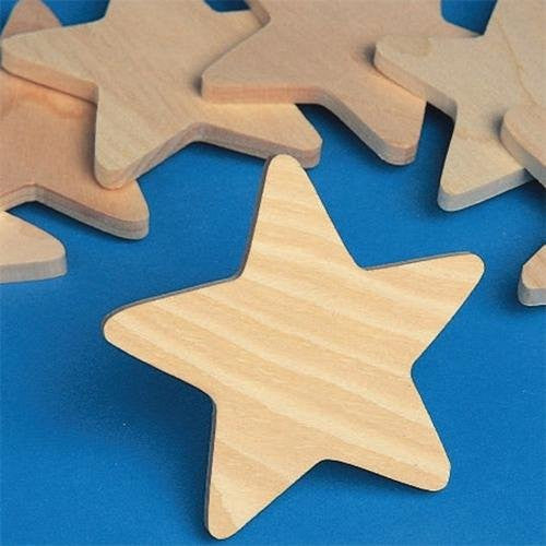 "Unfinished Wooden Stars, 3.75"" (Pack of 25)"