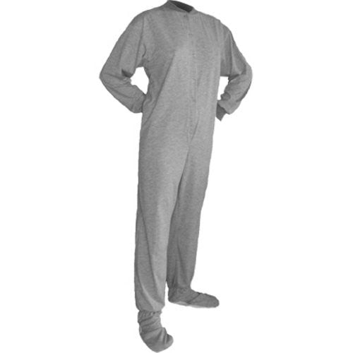 Big Feet Pajama Co. Grey (302) Jersey Knit Adult Footed Pajamas with Drop Seat