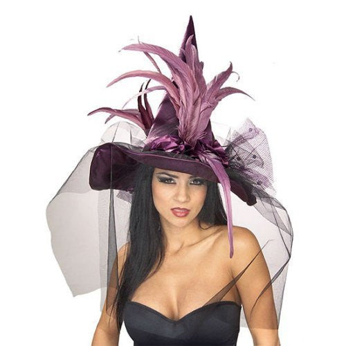 Purple Witch Hat w/Feather & Veil