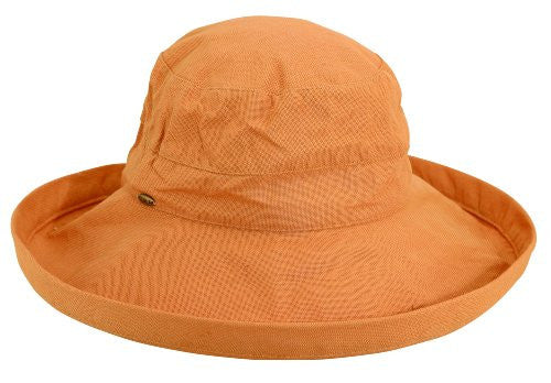 Scala Women's Cotton Big Brim Ultraviolet Protection Hat with Inner Drawstring (Tea / One Size)