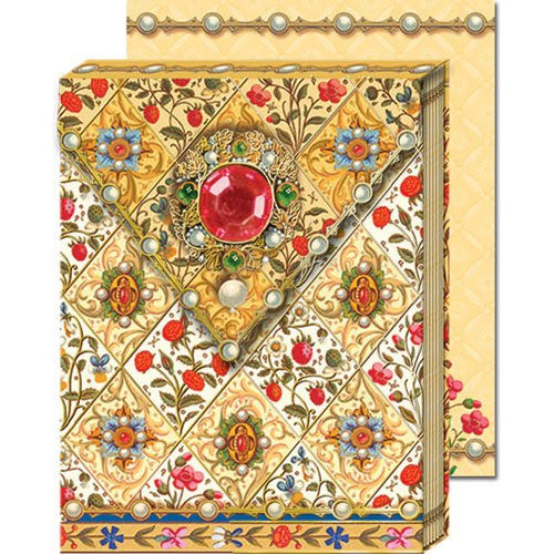 Bejeweled Florentine Ornate Pocket Note Pads with Magnetic Closure