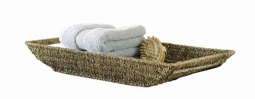 "COFFEE LARGE SEAGRASS SHALLOW BASKET-3.25""h x 25.25""l x 12""w"