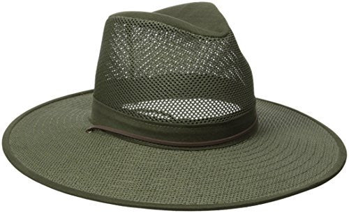 Aussie Breezer - Polycotton w/ chin cord, 4 in Brim, Crushable, Olive, Medium