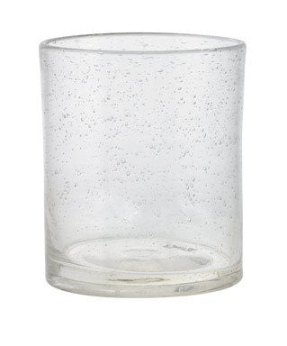 "BUBBLE GLASS CLEAR DOUBLE OLD FASHIONED-4""h x 3.5"" dia"