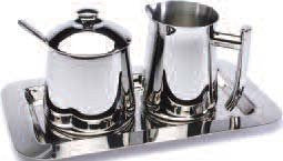 18/10 Stainless Steel Creamer, Sugar Bowl with Spoon and Tray Set