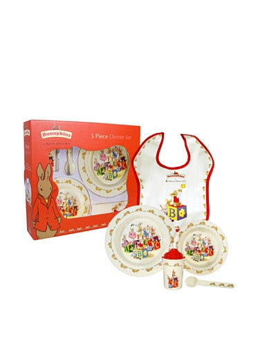 MELAMINE NURSERYWARE 5-PIECE SET (BOWL, CUP, PLATE, SPOON, BIB)