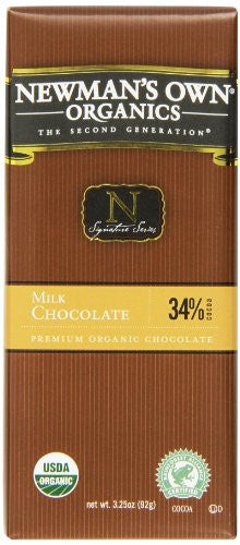 Newman's Own Organics Organic Chocolate Bars Milk At least 95% Organic 3.25 oz