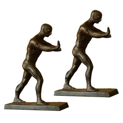 "Working Men Bookends 8.5""H 6.5""W 2.5""D Cast Iron 8.00lbs"
