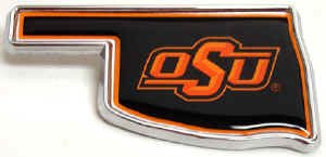 Oklahoma State University Chrome Auto Emblem (OK Shape w/color )