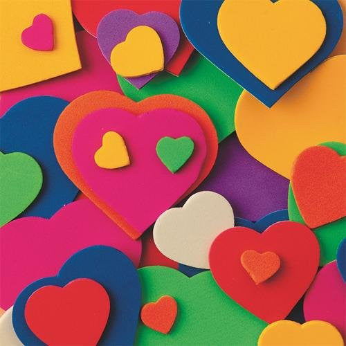 Foam Shapes w/ Adhesive - Hearts, 500 pcs.