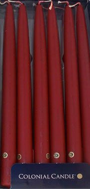 "Traditional Cranberry 10""  Handipt Taper Candles, Box of 12"