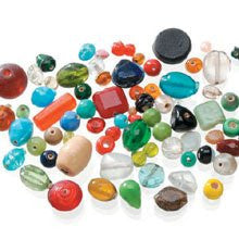 1 lb Glass Beads - Assorted Shapes, Colors and Sizes - Big Value