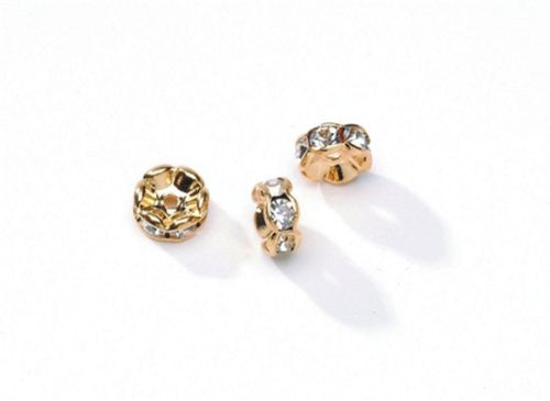 Metal Lined Czech Rhinestone Beads - Gold and Crystal - 6mm