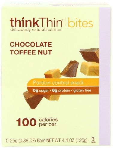 thinkThin BITES 100 Calorie Chocolate Toffee Nut, Gluten Free, 5-Count (0.88-Ounce) Bars (Pack of 6)