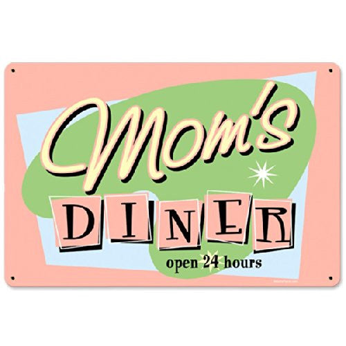 Moms Diner metal sign measures 12 inches by 18 inches