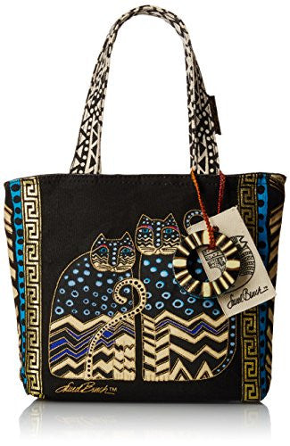 "Laurel Burch Medium Tote W/Zipper Top 9""X9""X3"" Spotted Cats"