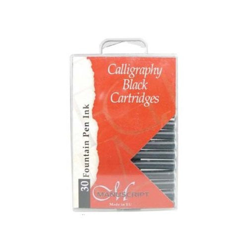 Manuscript Fountain Pen Ink Calligraphy Cartridges 30/Pkg - Black