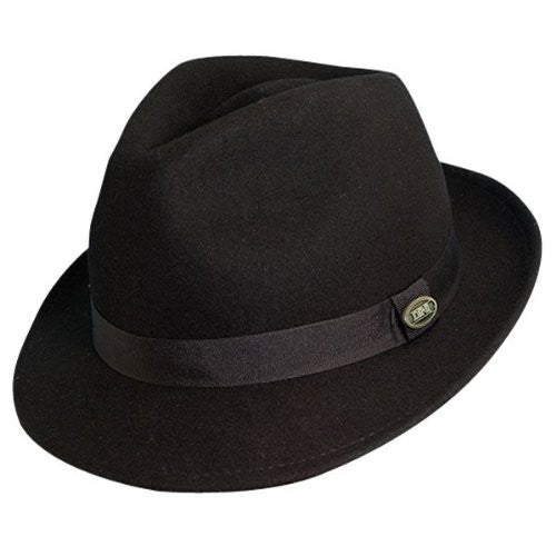 Dorfman Pacific Men's Wool Felt Snap Brim Hat (Black / Large)