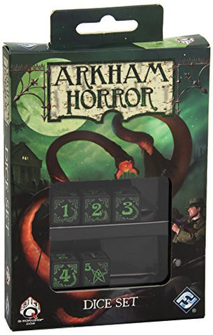 Arkham Horror - Black & green 5D6 Dice (5)