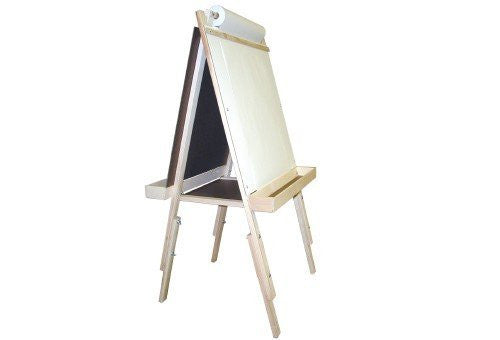 "Ultimate Easel + Ext. Legs, magnetboard, chalkboard, wood trays 42"" - 54"""