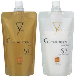 G-Cream Straight S Solution & Neutralizer Set (For Colored to Damaged Hair) - 13.5oz