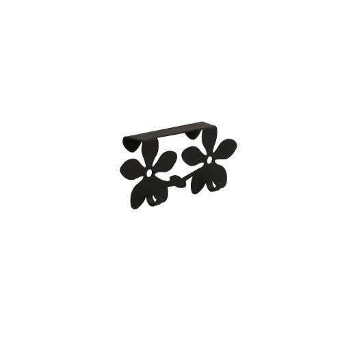 Flower Over the Cabinet/Drawer Double Hook 1/Card - Black